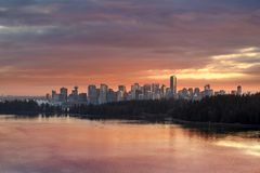 Colorful Sunset over Vancouver BC Canada Downtown Skyline Stock Photography