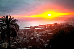 A colorful sunset over Waikiki on the island of Oahu, Hawaii Royalty Free Stock Photo