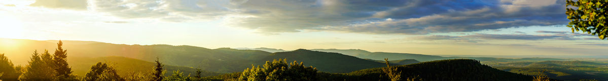 Colorful Sunset Panoramic View In Alsace Stock Images