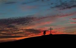 Colorful Sunset Praying Man Stock Images