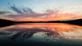 Colorful sunset reflection Royalty Free Stock Photos