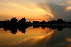 Colorful Sunset over the Lake royalty free stock images