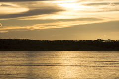 Colorful sunset on the river Amazon in the rainforest, Brazil Royalty Free Stock Image