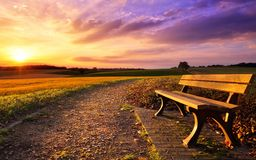 Colorful sunset in rural idyll Stock Images
