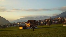 Colorful sunset in Schwyz, Switzerland. Timelapse stock footage