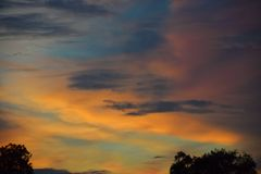 Colorful sunset sky blue and yellow Stock Photography