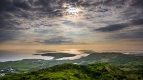 Colorful sunset on the Sky road. Sunset on western part of Ireland. Connemara. royalty free stock photos