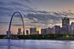 Colorful sunset at St. Louis Arch Stock Photos