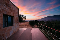 Colorful Sunset, Sunrise over house, villa Stock Image