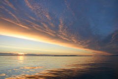 Colorful sunset in Svalbard Royalty Free Stock Photo