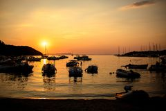 Marina with docked boats at the sunset Royalty Free Stock Image