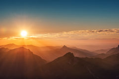 Colorful sunset on top of austrian mountain Royalty Free Stock Images