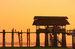 Colorful sunset at U Bein Bridge, Amarapura, Myanmar Stock Photography