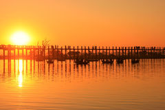 Colorful sunset at U Bein Bridge, Amarapura, Myanmar Stock Images