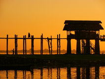 Colorful sunset at U Bein Bridge, Amarapura, Myanmar Stock Photo
