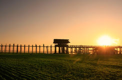 Colorful sunset at U Bein Bridge, Amarapura, Myanmar Royalty Free Stock Image