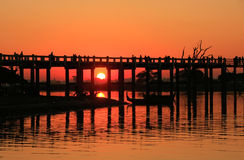 Colorful sunset at U Bein Bridge, Amarapura, Myanmar Stock Image