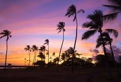 Colorful sunset at Waikiki beach in Hawaii, USA. Stock Photography