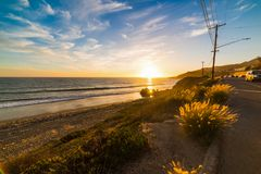 Colorful sunset in world famous Malibu. Los Angeles, California Royalty Free Stock Photo