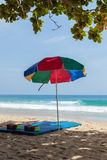 Colorful sunshade on the beach Royalty Free Stock Image