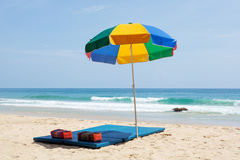 Colorful sunshade on the beach Stock Photo
