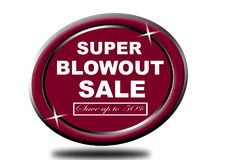 Colorful super blowout sale design web button. Illustration ready to web button colorful   super blowout sale save up to 50% vector isolated white background Royalty Free Stock Images