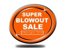 Colorful super blowout sale design web button. Illustration ready to web button colorful   super blowout sale save up to 50% vector isolated white background Stock Photography