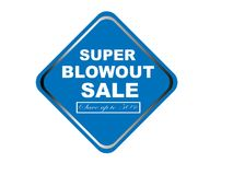 Colorful super blowout sale design web button. Illustration ready to web button colorful   super blowout sale save up to 50% vector isolated white background Royalty Free Stock Photo