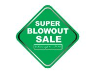 Colorful super blowout sale design web button. Illustration ready to web button colorful   super blowout sale save up to 50% vector isolated white background Stock Photo