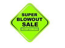 Colorful super blowout sale design web button. Illustration ready to web button colorful   super blowout sale save up to 50% vector isolated white background Stock Image