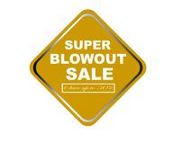 Colorful super blowout sale design web button. Illustration ready to web button colorful   super blowout sale save up to 50% vector isolated white background Royalty Free Stock Image