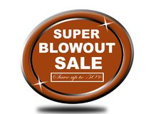 Colorful super blowout sale design web button. Illustration ready to web button colorful   super blowout sale save up to 50% vector isolated white background Royalty Free Stock Photography