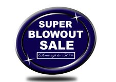 Colorful super blowout sale design web button. Illustration ready to web button colorful   super blowout sale save up to 50% vector isolated white background Stock Photos