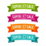 Colorful Super Sale ribbons. Eps10 Vector. Colorful Super Sale ribbons. Eps10 Vector for Online shopping Royalty Free Stock Image