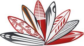Colorful surf board design 2. Vector illustration of colorful surf board design 2 Royalty Free Stock Photos