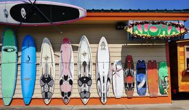 Colorful surf boards lined up in the streets of Maui, Hawaii Stock Photography