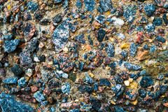 Colorful surface of collapsing, corrosive concrete wall.Texture, old plate background.  stock image