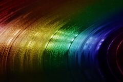 Colorful Old Vinyl Record Texture. Colorful surface of an old vinyl record. Macro shot, shallow depth of field royalty free stock photography