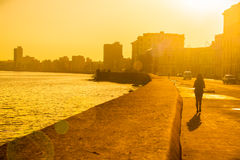 Colorful surise in Havana. Backlit image of a colorful surise in Havana with a view of the malecon seawall and the city skyline Stock Photography