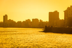 Colorful surise in Havana. With a view of the malecon seawall and the city skyline Royalty Free Stock Photo