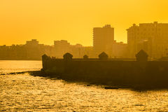 Colorful surise in Havana. With a view of the malecon seawall and the city skyline Stock Image