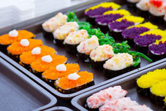 Colorful sushi on the local market Stock Photos