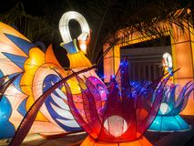 Colorful Swan Lantern and Lotus Lantern. With Frame in The Middle Stock Photos