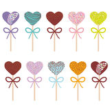 Colorful Sweet Cake pops hearts set with bow isolated on white background. Vector. Illustration Royalty Free Stock Image