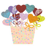 Colorful Sweet Cake pops hearts set with bow in a pink bucket isolated on white background. Vector. Illustration Royalty Free Stock Photography