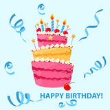 Colorful sweet cake, ribbons with happy birthday. Birthday Cake. Stock Photography