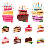 Colorful sweet cakes and cakes slices pieces  on white background. Royalty Free Stock Photography