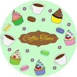 Colorful sweet cakes set  illustration. Coffee time Stock Photos