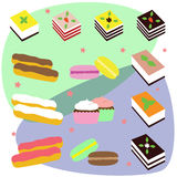 Colorful sweet cakes slices pieces set vector illustration. Stock Photo