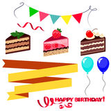 Colorful sweet cakes slices pieces  on white background, ribbons and flags with happy birthday. Stock Image
